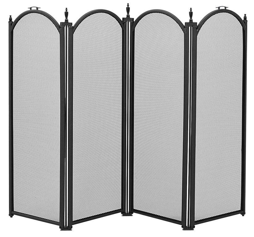 Manor Dynasty 4 Fold Fireguard - Black 64 x 84cm